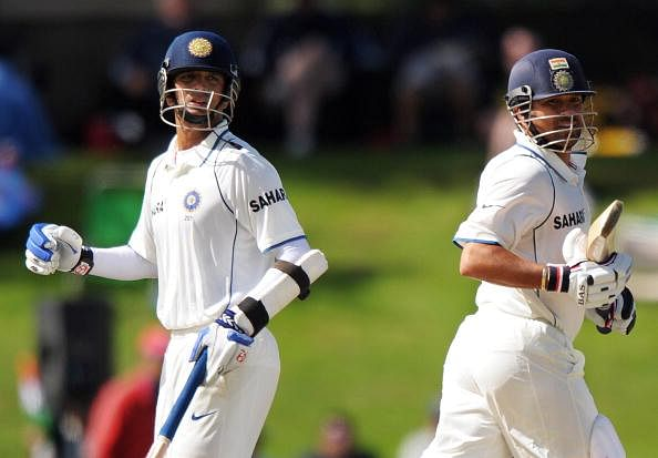 Indian cricketers Rahul Dravid (L) and S