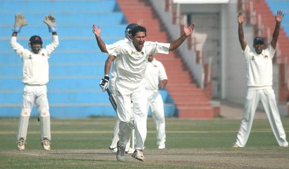 Ajit Agarkar in action for Maharashtra Ranji team