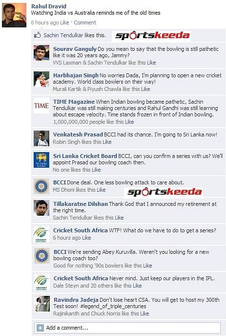 Fake FB Wall: Rahul Dravid remembers old days while watching India-Australia match