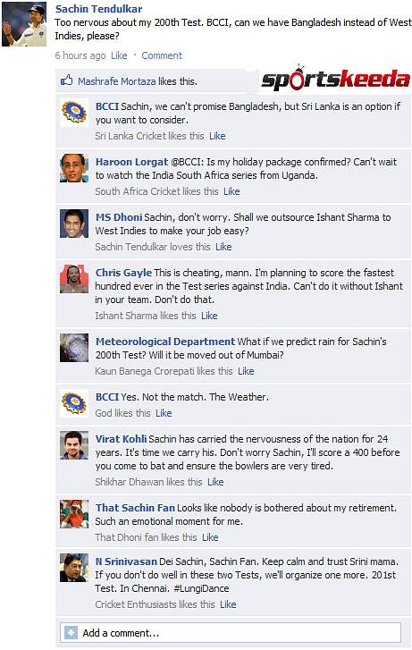Fake FB Wall: Sachin Tendulkar confesses to nerves before 200th Test