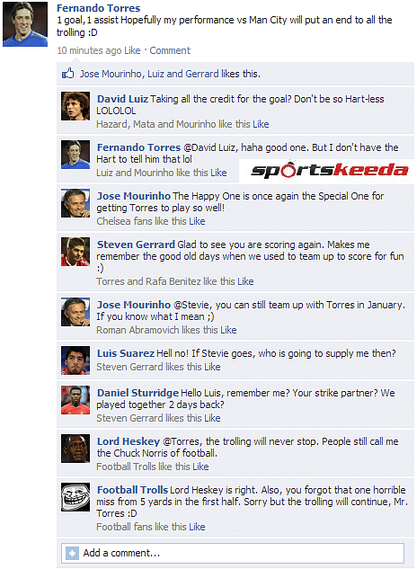 Fake FB Wall: Fernando Torres updates his status, wants the trolling to stop
