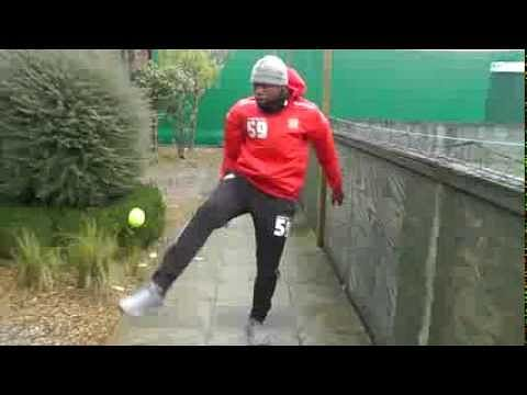 Arsenal youngster Chuks Aneke shows great skills with a tennis ball
