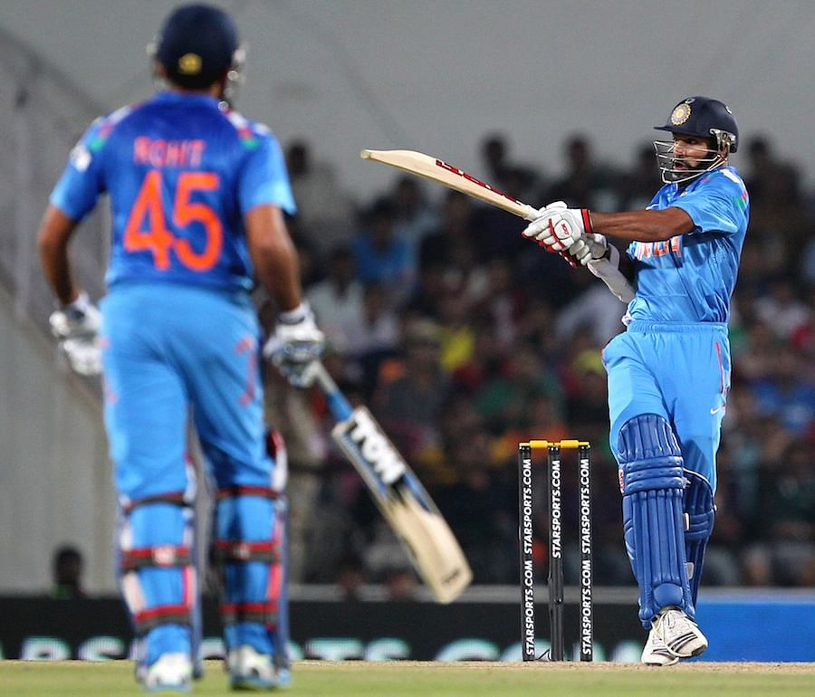 Shikhar and Rohit Sharma in action against Australia