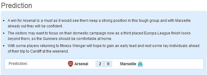 Arsenal vs Marseille - Statistical Preview