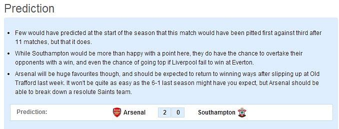 Arsenal vs Southampton: Statistical Preview