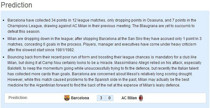 Barcelona v AC Milan - Statistical Preview