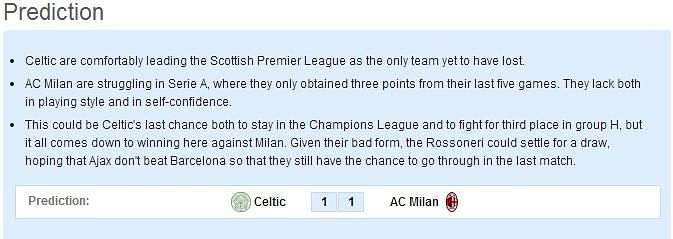 Celtic vs AC Milan: Statistical Preview