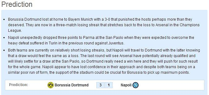 Borussia Dortmund vs Napoli - Statistical Preview