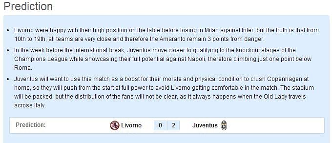Livorno vs Juventus - Statistical Preview
