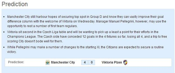 Manchester City vs Viktoria Plzen: Statistical Preview