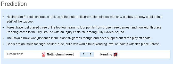 Nottingham Forest vs Reading: Statistical Preview
