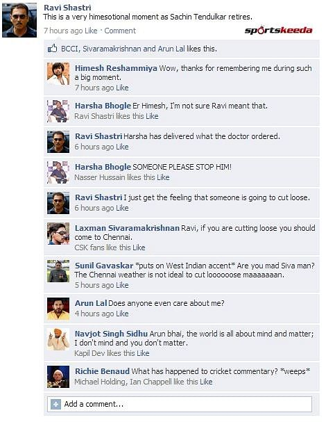 FB Wall: Ravi Shastri ruins Sachin Tendulkar's big moment