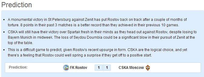 FK Rostov vs CSKA Moscow: Statistical Preview