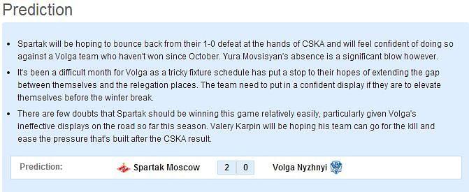 Spartak Moscow vs Volga Nyzhnyi: Statistical Preview