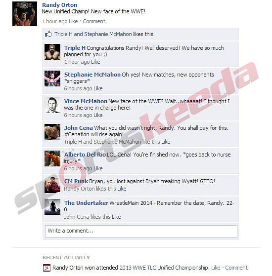 Fake FB Wall: Randy Orton updates his status after winning at TLC