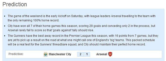 Manchester City-Arsenal Statistical Preview