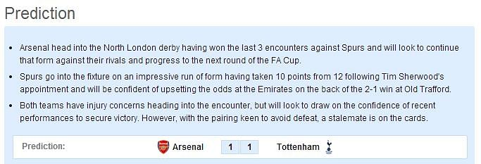 Arsenal-Tottenham Statistical Preview