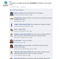 Fake FB Wall: BCCI takes control of cricket and trolls Pakistan Cricket Board