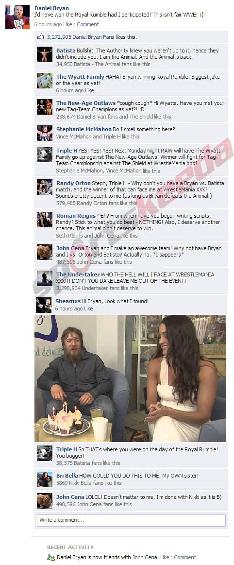 FB Wall: Daniel Bryan expresses his frustration at not being able to participate in the Royal Rumble