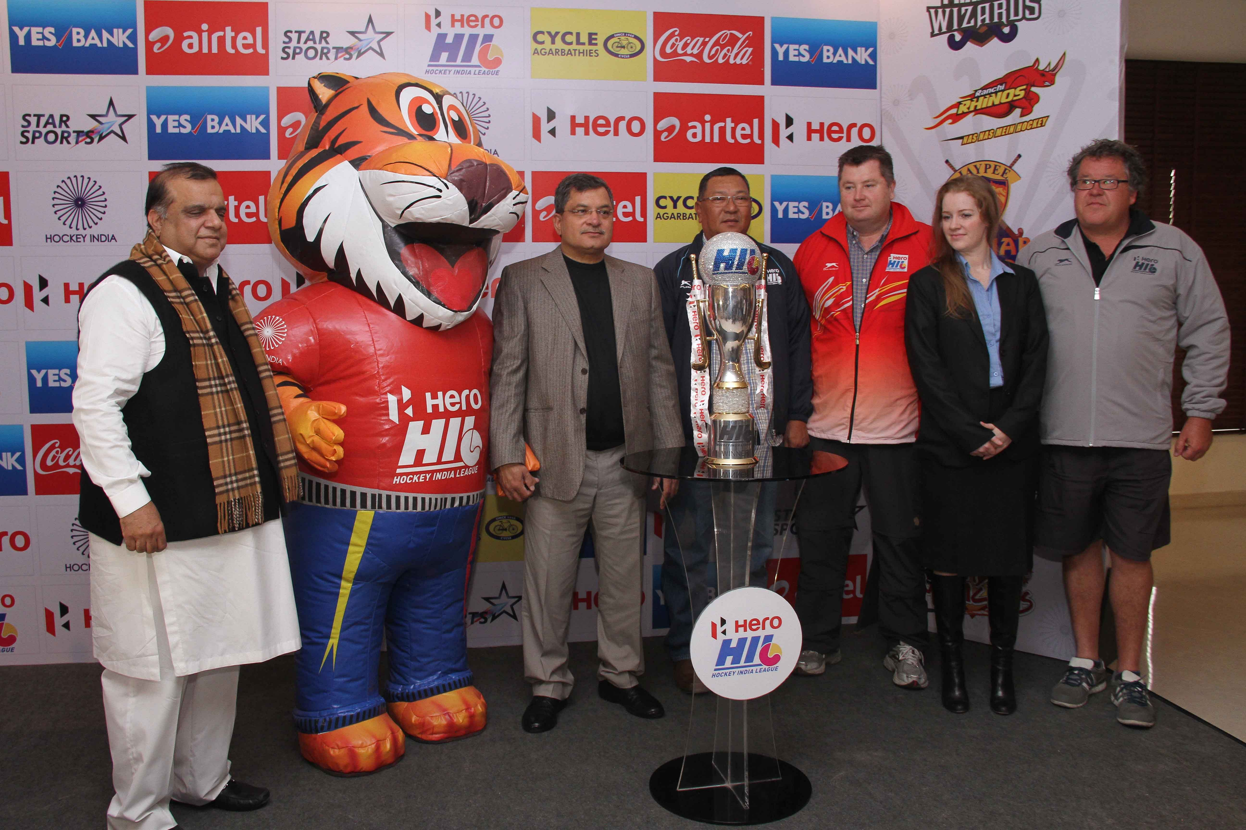 Hockey India unveils the trophy and mascot for Hero Hockey India League 2014