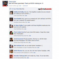 FB Wall: Owners, players and fans rejoice on Chris Gayle's FB Wall