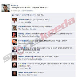 FB Wall: Batista updates his Facebook status, gets trolled