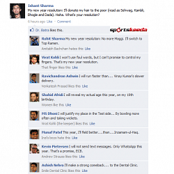 FB Wall: Cricketers discuss new year resolutions on Ishant's FB Wall