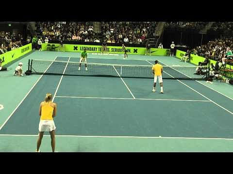 Video: Federer teams up with Sharapova, Nadal with Azarenka
