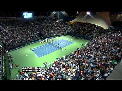 Video: Federer and Djokovic play jaw-dropping point in Dubai semifinal