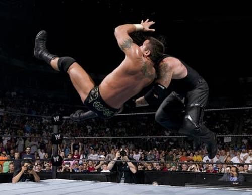 Image result for the undertaker vs randy orton wrestlemania 21