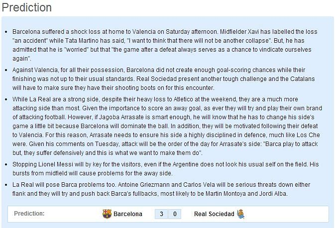 Barcelona vs Real Sociedad - Statistical Preview