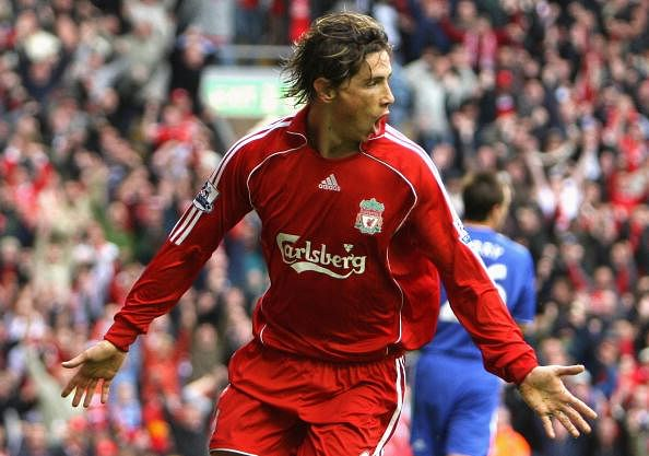 Fernando Torres of Liverpool celebrates scoring the opening goal during the Barclays Premier League match between Liverpool and Chelsea at Anfield on August 19, 2007 in Liverpool, England.