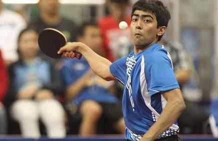 Paddler Harmeet Desai in Qatar Open U-21 final