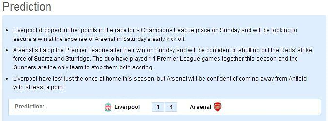 Liverpool vs Arsenal - Statistical Preview