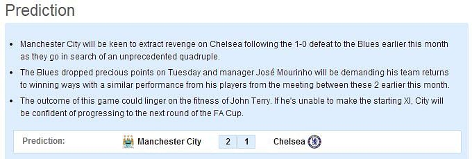 Manchester City vs Chelsea - Statistical Preview