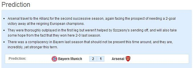 Bayern Munich vs Arsenal - Statistical Preview