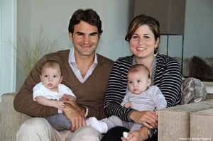 Federer with his wife and kids