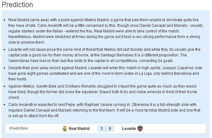 Real Madrid vs Levante - Statistical Preview