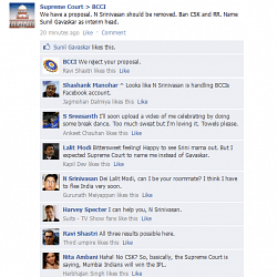FB Wall: No Srinivasan and CSK, says Supreme Court