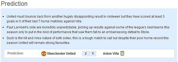 Manchester United vs Aston Villa - Statistical Preview