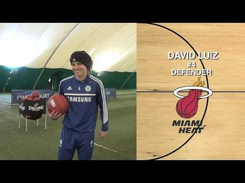 Chelsea players Eden Hazard, David Luiz, Petr Cech, Demba Ba and Andre Schurrle play basketball