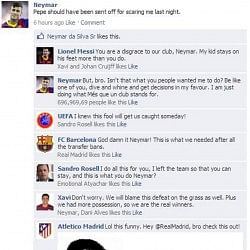 Fake FB Wall: Neymar spills the beans on Barcelona and UEFA conspiracy
