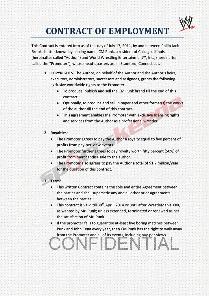 Satire Exclusive Details Of Cm Punk S Contract With Wwe