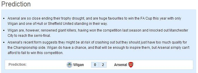 FA Cup: Wigan vs Arsenal - Statistical Preview
