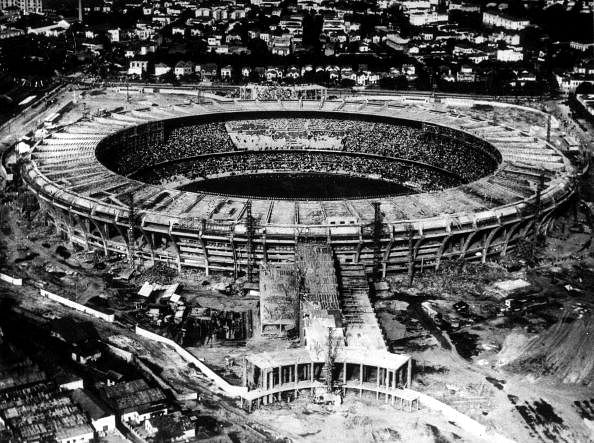 Aerial view of the gigantic Maracana Stadium still under construction for the 1950 World Cup finals