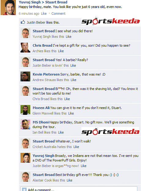 FB Wall: Yuvraj Singh wishes Stuart Broad on his birthday