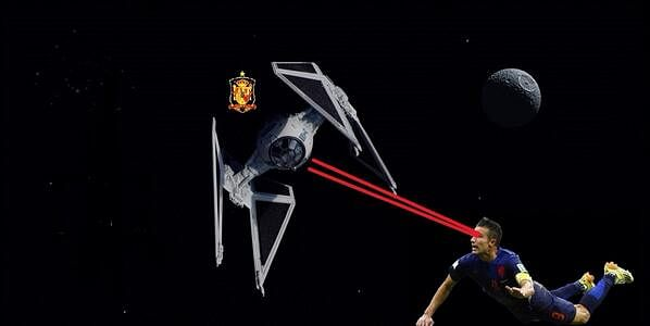 Van Persie destroys Spain satellite with laser beam