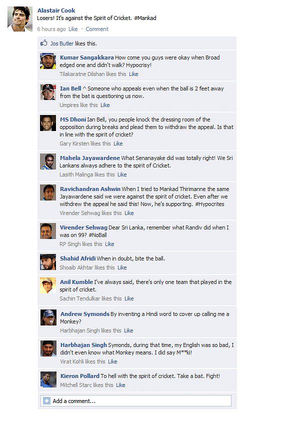 FB Wall: Cricketers discuss Mankading and spirit of cricket