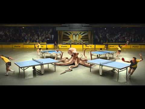 Paul the Octopus plays table tennis with four opponents in Betfair ad