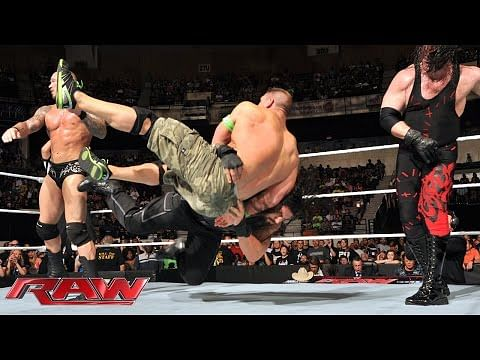 WWE Raw Video: John Cena and Roman Reigns vs Randy Orton, Kane and Seth Rollins